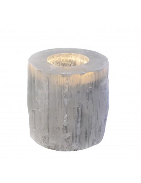 Selenit fyrfadsstage Sølv
