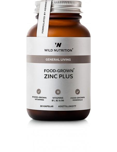 Food-Grown ZINK PLUS, Wild Nutrition 30 kapsler.