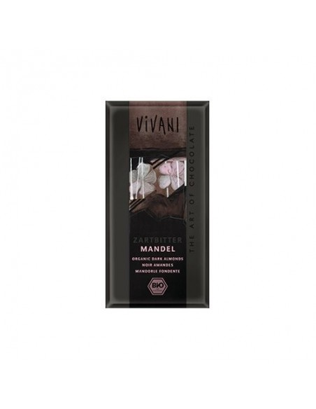 Vivani chokolade mørk m. hele mandler Økologisk