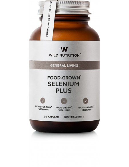 Food-Grown SELENIUM PLUS- E 30 kapsler Wild Nutrition