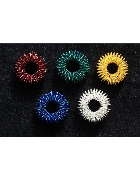 Akupressur ringe til selvbehandling 5 stk rød, grøn, blå, guld og sølv
