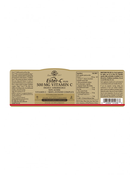 Solgar Ester C-vitamin plus 500 mg fra naturpoteket.dk
